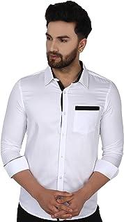 SKAVIJ Men's Dress Shirts Long Sleeve slim fit Wrinkle Free Casual Button Down Shirt