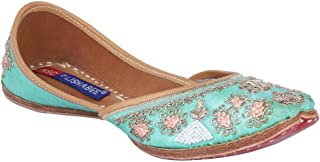 MSC Leather Ethnic Turquoise Flat Bellie for Women
