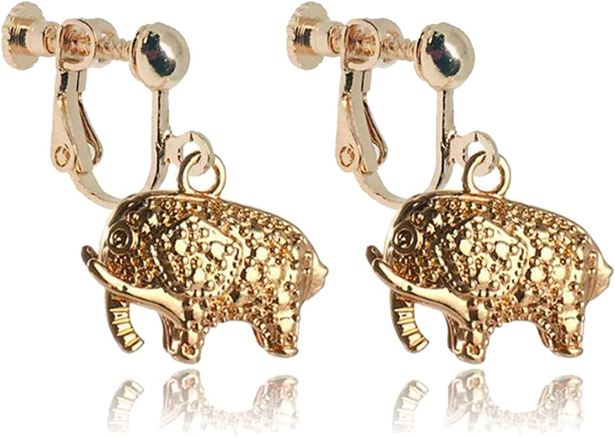 Fashion Elephant Clip on Earrings Small Animal Dangle Hoops Drop Gold Plated Non Pierced Ears for Girls Women Party Birthday Gifts