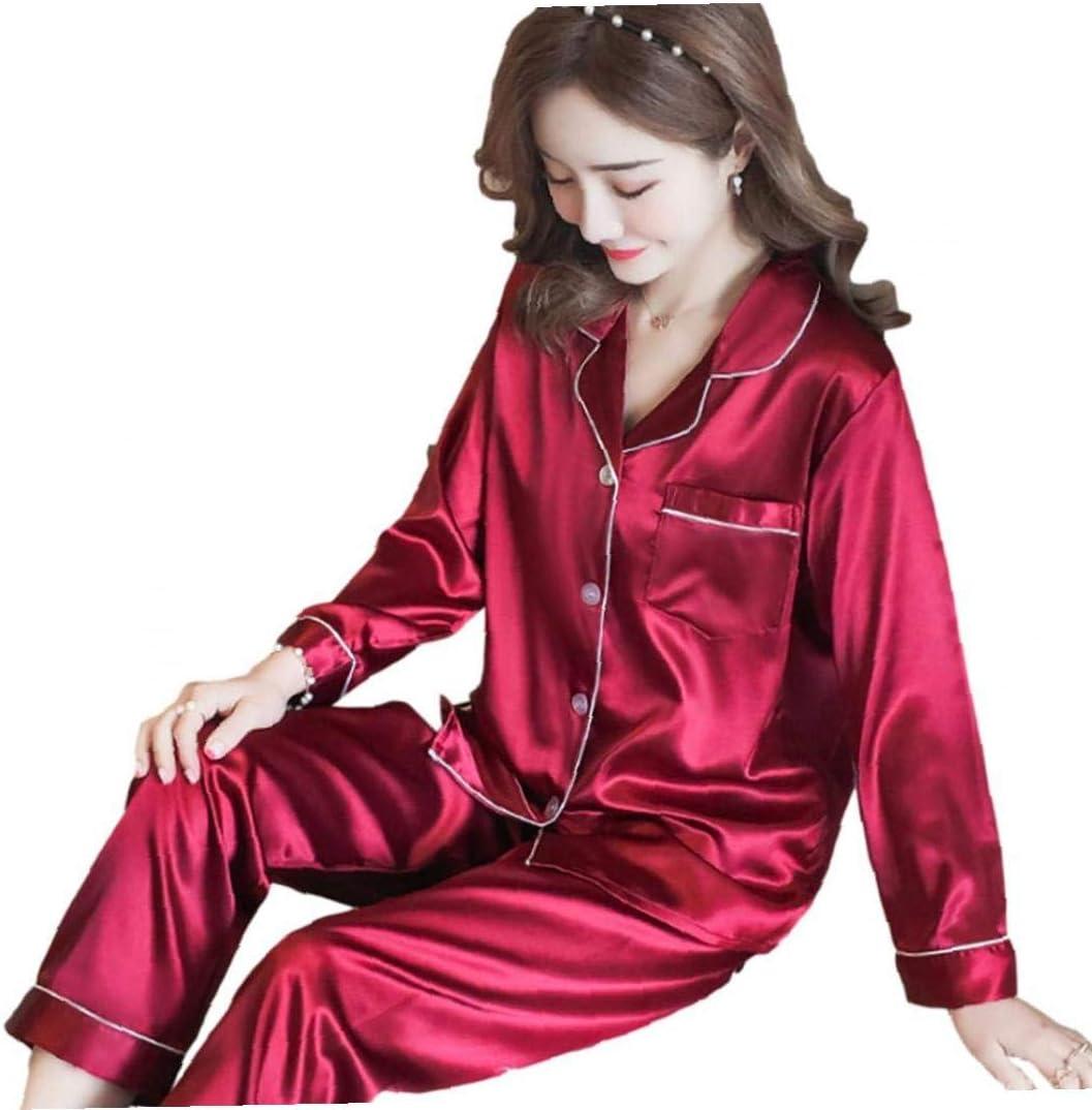 Silk Pajamas Set Long Sleeve Nightwear Satin Loungewear Sleepwear for Couple Men Women Red L
