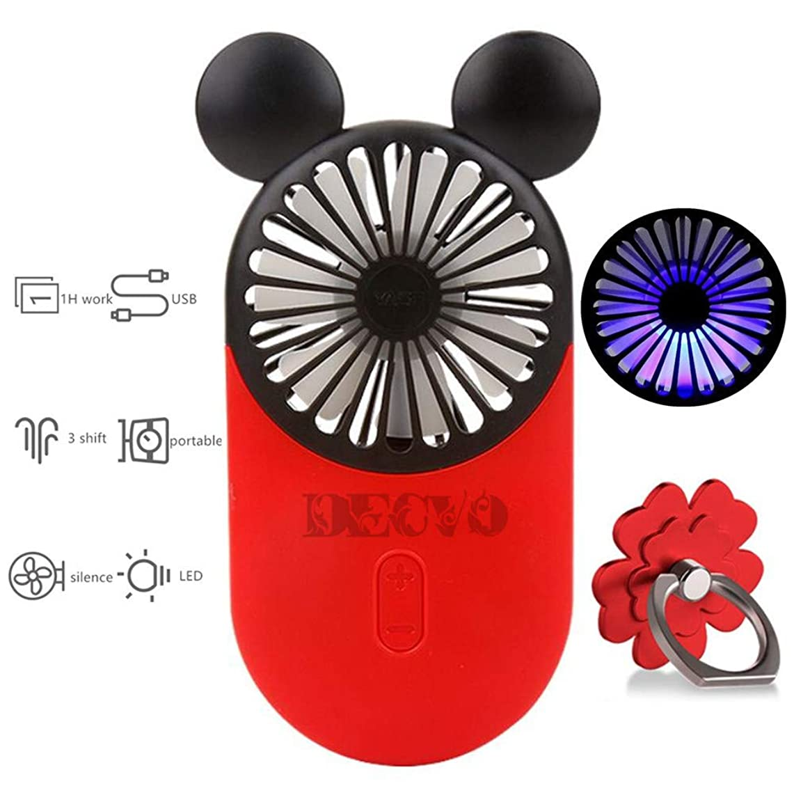 DECVO Cute Personal Mini Fan, Handheld & Portable USB Rechargeable Fan with Beautiful LED Light, 3 Adjustable Speeds, Portable Holder, Perfect for Indoor Or Outdoor Activities, Cute Mouse (Red)