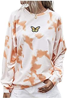 HEFASDM Women's Fall Winter Lounge Shirt Painting Tie Dye Pocket Top