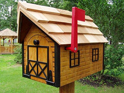 Amish Handmade Handcrafted Rural Mailbox w Flag Log Cabin Black Trim