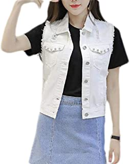 Womens Distressed Ripped Hole Denim Button Sleeveless Crop Vest Outerwear Jacket
