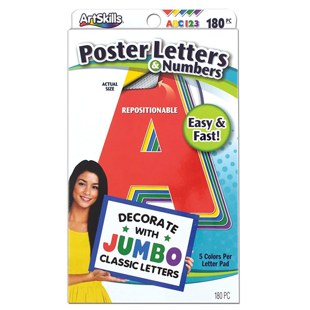 ArtSkills Jumbo Poster Letters and Numbers, A-Z and 0-9, Assorted, Classic Colors, 180-Count (PA-1454)