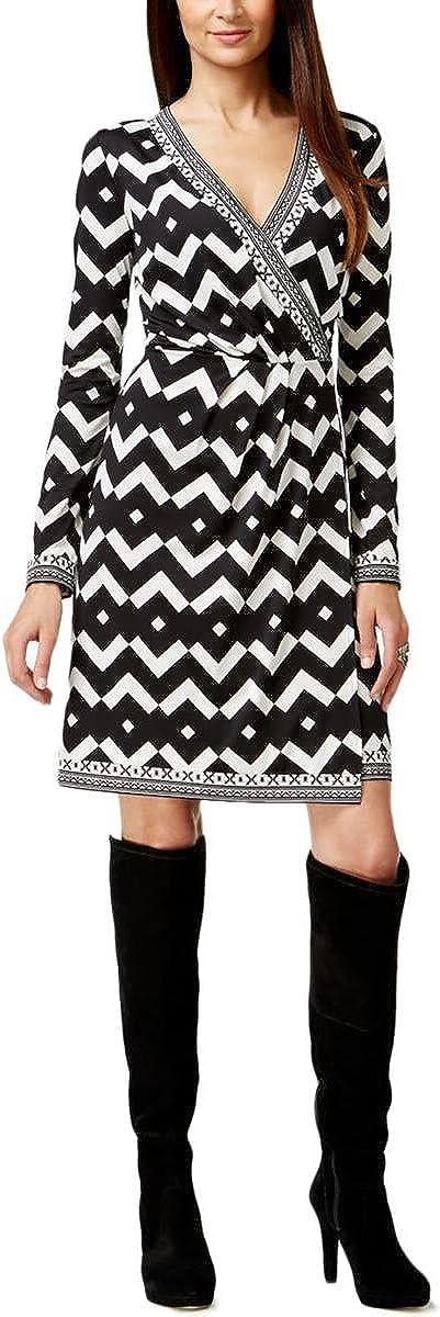 INC International Concepts Women's Chevron Print Faux Wrap Dress