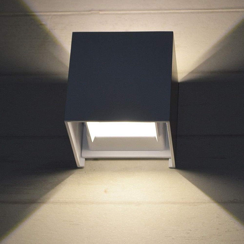Pouluuo Moderne minimalistische LED Nachttischlampe Innen- und Auenwandlampe Wandlampe 6   12W   schwarz   12W   weies Licht