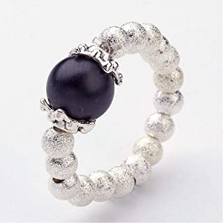 NEW! BLACK Pearl /& Silver Plated Beads Stretch Thumb Ring Handmade