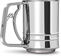 MMIAOO Flour Sifter Stainless Steel Flour Sieve Semi-Automatic Flour Strainer Hand Pressure Handle for Kitchen Cocoa Powder Baking Icing Sugar Sifter Tapioca Flour Coconut Flour Cake Flour