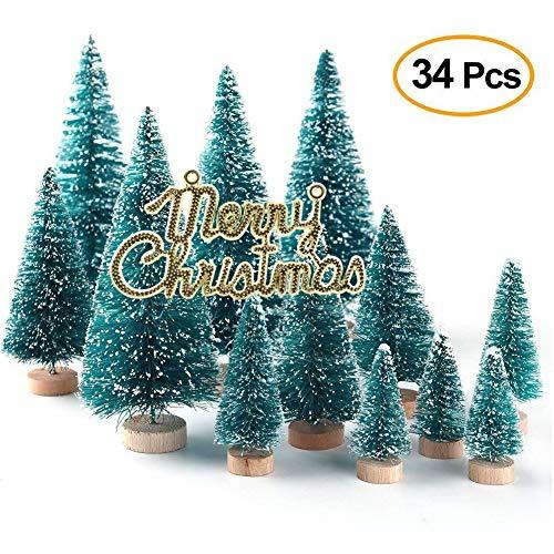 Xueliee Mini-Sisal-Schnee-Frostbäume, Flaschenbürste, Bäume, Kunststoff, Winter, Schnee, Ornamente Tischbäume (34 Pcs)