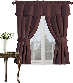 United Curtain Burlington Blackout Window Curtain Five Piece Panel Set, 52 by 63-Inch, Chocolate