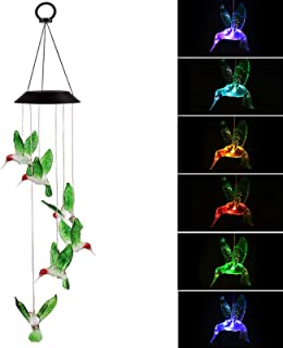 EEEKit Solar Changing Color Hummingbird Wind Chime, Solar Powered LED Hanging Lamp Windchime Light for Outdoor Indoor Home Garden Patio Yard Pathway Decor