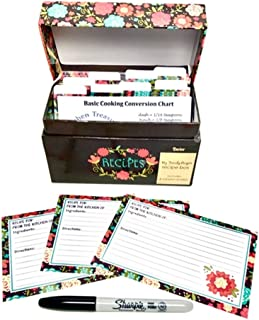 91 Piece Recipe Box and Card Bundle Set - Happy Day Floral. The Perfect Recipe Card Holder.
