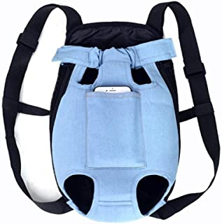 Denim Pet Dog Backpack Outdoor Travel Dog Cat Carrier Bag for Small Dogs Puppy Kedi Carring Bags Pets Products Trasportino Cane For travel, going out (Color : Light Blue, Size : XL)