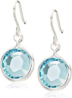 Alex and Ani Women's Swarovski Color Code Earrings March Aquamarine, Shiny Silver, One Size