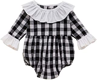 Weixinbuy Clothes for Baby Girls Plaid Print Long Sleeve Round Collar Romper Bodysuit One-Piece Overall Clothes