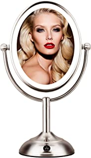 "Lighted Makeup Mirror - 8"" LED Vanity Mirror with Natural LED Light, 1X/5X Magnification, Double..."