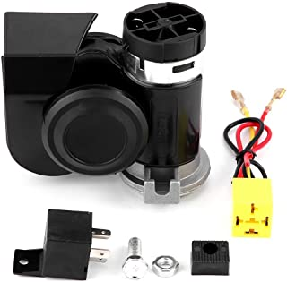 Acouto 12V Universal Car Auto Vehicle Truck Motorcycle Electric Snail Horn Refit Super Sound Integrated Compact Snail Air Horn With Relay