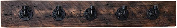Elem Decor 100 Year Old Wood Coat Rack With Industrial Style Hooks For Entry Way 36x5 5