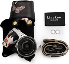 kinokoo Leather Camera Case Flowers Pattern Tailored for SONY A5000 A5100 NEX-3N and Specialized for 16-50mm Lens Black