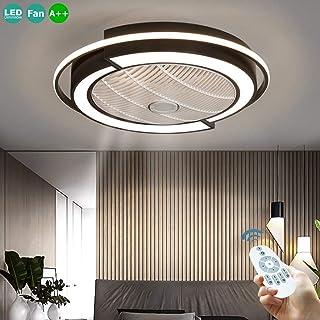 36W Ventilador De Techo Invisible Con Control Remoto Luz LED Ajustable Velocidad Viento Regulable Moderna Ligera Para La Tranquilidad Del Ventilador Dormitorio Sala Comedor Iluminación Negro