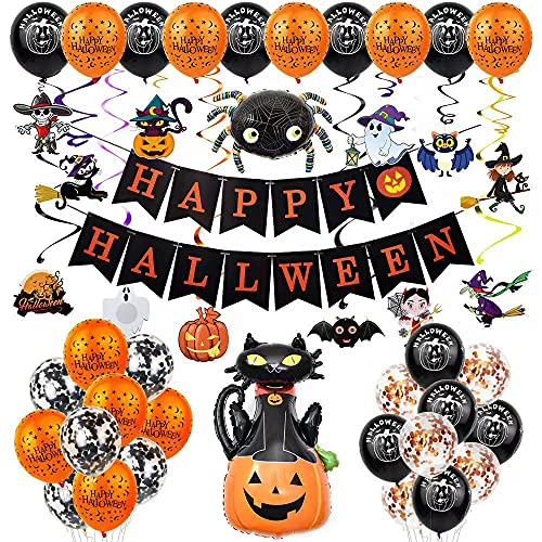 Decoraciones para Fiestas Halloween, Pancarta Feliz Halloween, Globos Confeti, Araña Y Globo Calabaza para Niños, Fiestas Temáticas Halloween