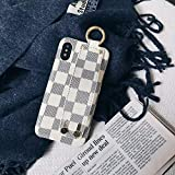 Boozuk iPhone X/Xs Case with Holder, Luxury Monogram PU Leather & TPU 2 in 1 Classic Style Shockproof Handheld Case for Apple iPhone X/Xs, 5.8'