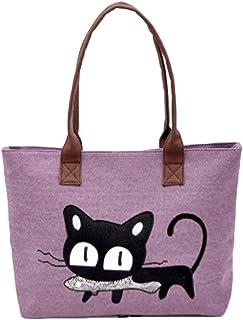 7253629f1a Sac à main, FeiTong Mode féminine bandoulière sac de toile Chat mignon Sac  Lunch Bag