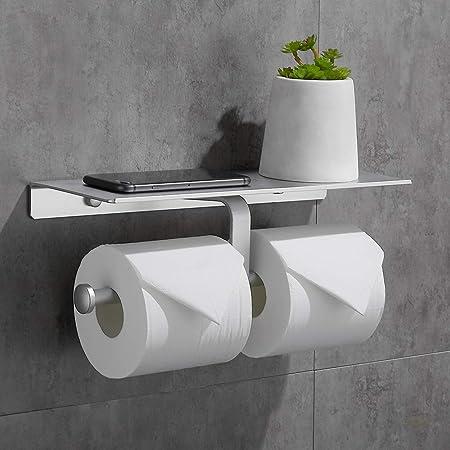 Gricol Porte Rouleau de Papier Toilette Hygiénique Sans Perçage avec Etagère de Téléphone Portable Support Mural Double pour Salle de Bains (Argent)