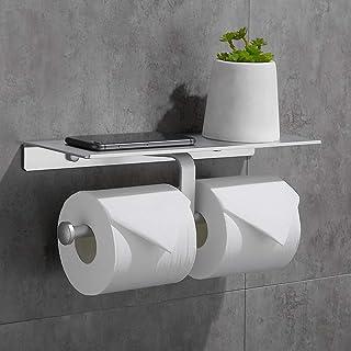 Gricol Porte Rouleau de Papier Toilette Hygiénique Sans Perçage avec Etagère de Téléphone Portable Support Mural Double po...