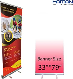 HAITIAN Aluminum Retractable Banner Stand 33x79 for Conference & Trade Show, Fixed Banner Size 33 x 79 Inches, Banner Does Not Included, Packed in A Padded Carrying Bag