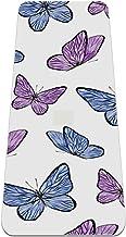 Kleurrijke vlinder paarse antislip yogamat - milieuvriendelijke TPE dikke fitnessoefenmatten ideaal voor pilates, yoga en ...
