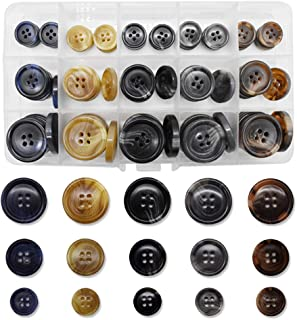 90Pcs Faux Buffalo Horn Suit Coats Buttons 5 Color 3 Size (12MM, 20MM, 25MM) for Jacket Sleeves and Pants Sport Coat Unifo...