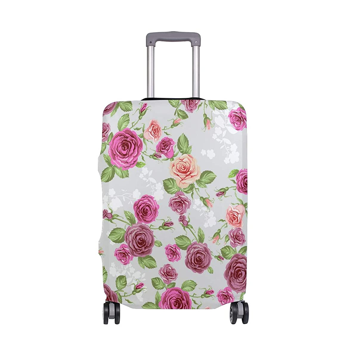 東まだ届けるビンテージローズ スーツケースカバー 弾性素材 おしゃれ トラベルダストカバー 傷防止 防塵カバー 洗える 18-32インチの荷物にフィット