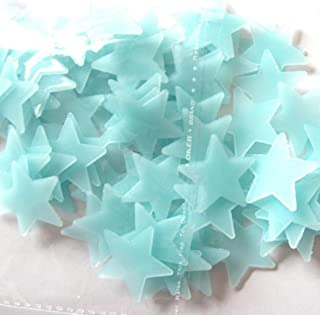 100PC Kids Bedroom Fluorescent Glow In The Dark Stars Wall Stickers Living Room Play House Mini Ornaments (blue)