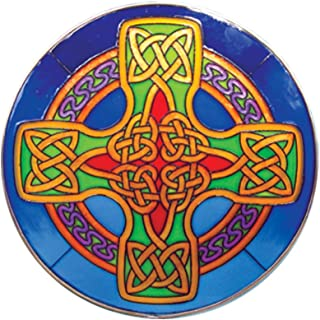 Round Stained Glass Hanging 16cm Panel With Blue Celtic Cross Design