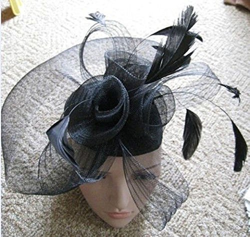 Black Net Fascinator Hat Veil - Wedding Ascot Races Hair Accessories Clip by NA