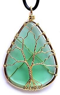 HongJinTian Wire Wrapped Tree of Life Green GlassTeardrop Pendant Necklace Healing Crystal Chakra Jewelry for Women