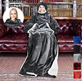Tirrinia Sherpa Hood Wearable Blanket for Adult Women and Men, Super Soft Comfy Warm Plush Throw with Sleeves TV Blanket Wrap Robe Hoodie Cover for Lounge Chair Couch 72' x 55' Grey