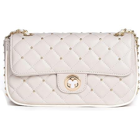 KESUDE Damen Umhängetasche Kleine - Taschen Damen PU Leder Handtasche Schultertasche mit Kette und Gesteppte, City Clutch Crossbody Bag für Damen & Frauen - Weiß