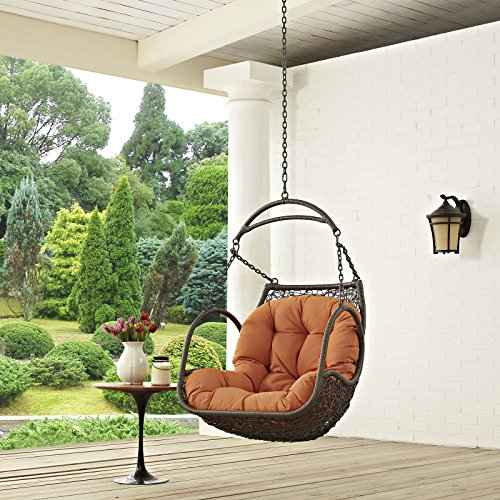 Modway EEI-2659-ORA-SET Arbor Wicker Outdoor Patio Swing Chair Set with Hanging Steel Chain, Without Stand, Orange