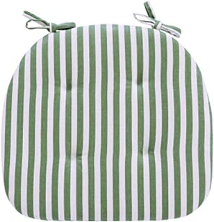 JINGXIN Dining Room Chair Pad Students Seat Cushion with Ties - 15.7 x 16.5 Inches(Green White Wide Stripes,2pcs)