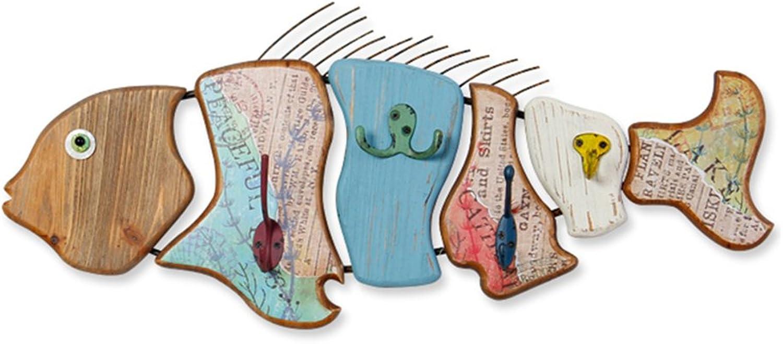 ZEMIN Wall Coat Rack Clothes Hat Hanger Holder Hooks Wood Fish Mediterranean Style, 60x27CM ( color   1 piece )