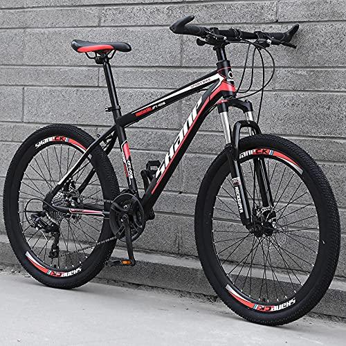 Bicicleta De Montaña, Adulto Todoterreno, Bicicleta De Cambio, Doble Amortiguación, Estudiante Bicicleta-[Versión Superior] Raimos - Rojo Negro_24 Velocidades (por Defecto De 26 Pulgadas),