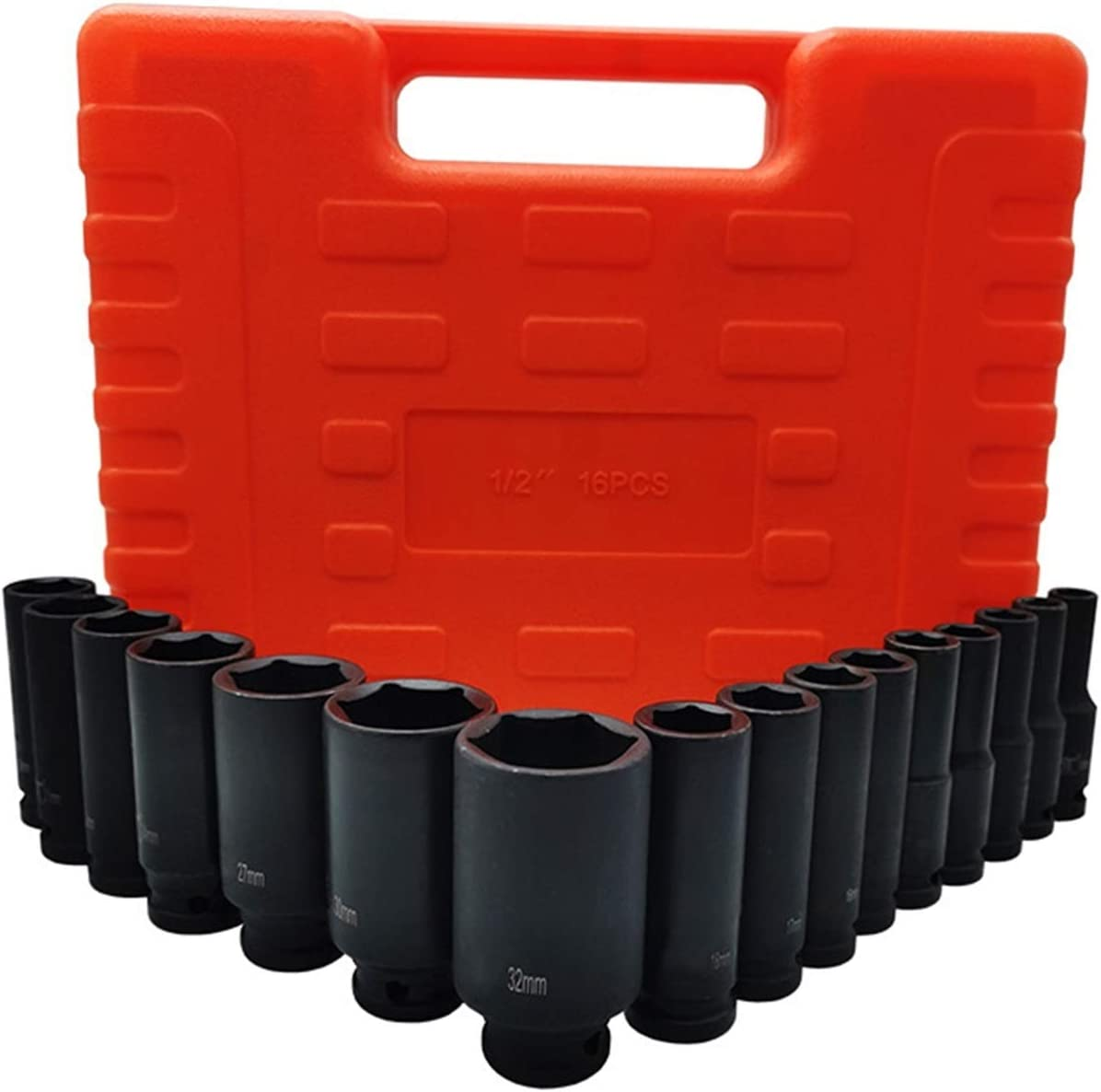 Color : 16PC Set Without Allen Wrench Set Allen Wrench Air Impact Sockets Set 1//2 Drive 6 Point Deep//Short Sockets Tool Sets