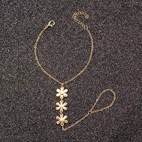 XKMY Cadena de mano con anillo simple nueva flor colgante pulsera de moda exquisitas pulseras de dedo accesorios de mano para mujeres (color metal: oro)