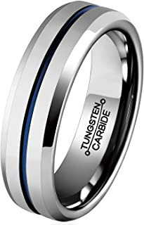 Wedding Band Tungsten Rings for Men Blue Groove 6mm Size 6-13