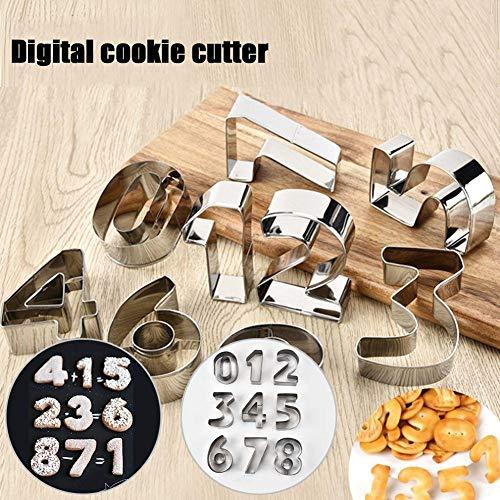 BAODANH Juego de moldes para cortar galletas, números de acero inoxidable para hornear (1-9) Moldes para decoración de galletas, galletas y pasteles