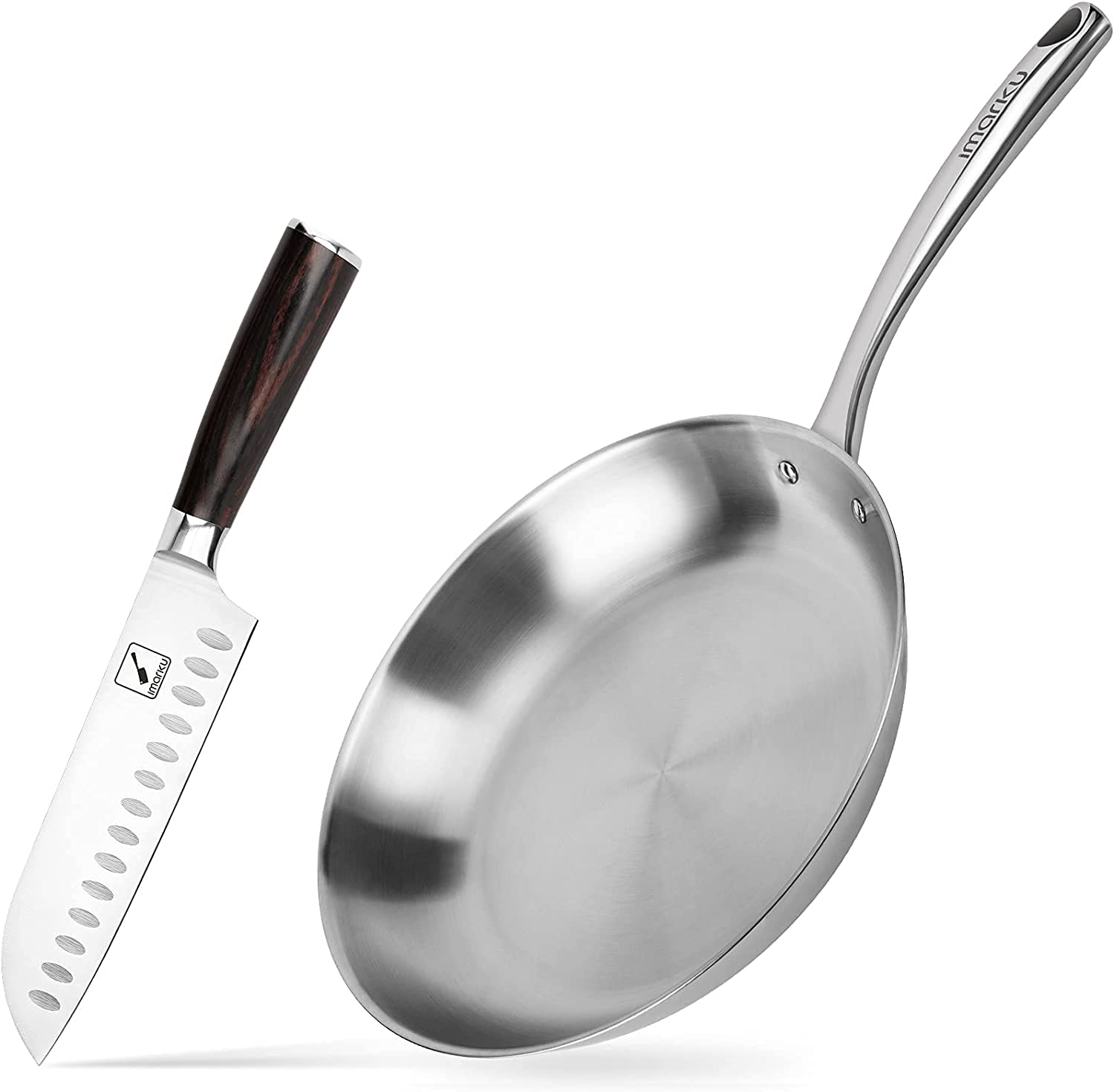 imarku Santoku Knife and 12-Inch Ranking TOP18 Frying Coo Stainless Our shop most popular Steel Pan