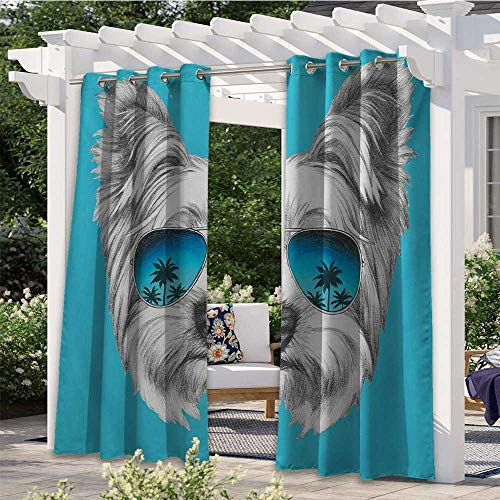 Adorise Outdoor Door Curtain Yorkshire Terrier Portrait with Cool Mirror Sunglasses Hand Drawn Cute Animal Art Indoor Outdoor Blackout Privacy Curtain Wind Prevention/Waterproof White W120 x L96 Inch